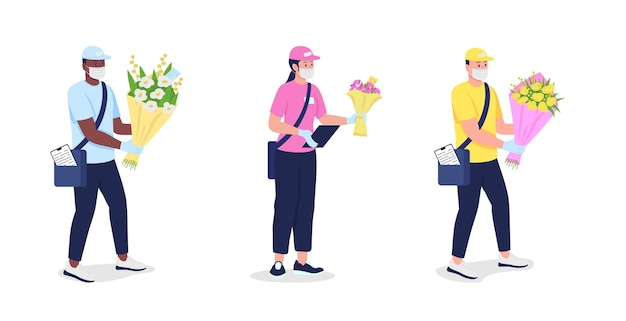 Corrieri in maschera e guanti con fiori set di caratteri dettagliati piatti. consegna sicura durante la raccolta di cartoni animati isolati dalla pandemia