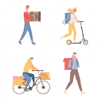Corrieri con scatole e pacchi illustrazione piatta. giovani uomini e donne con maschere protettive che spediscono merci o cibo a clienti in bicicletta e scooter. concetto di consegna online veloce.