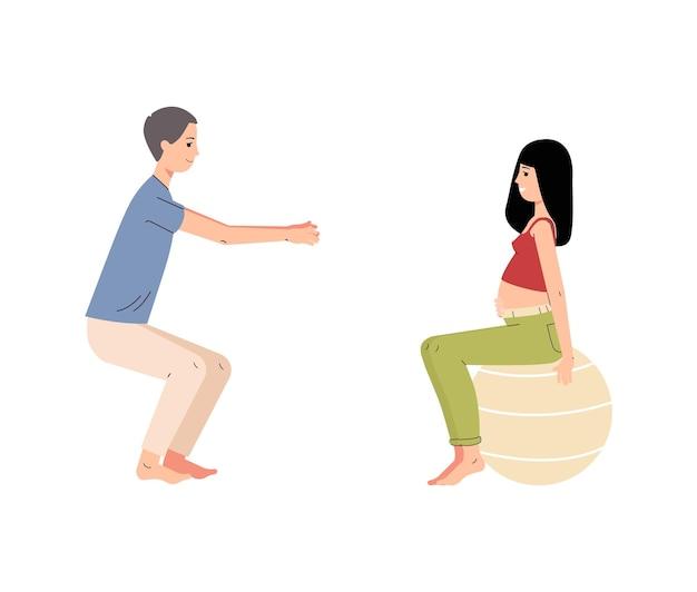 Corsi di yoga o fitness durante la gravidanza. marito e moglie incinta che fanno esercizio insieme. i futuri genitori si stanno preparando per il parto. cartone animato piatto