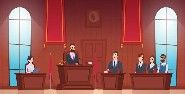 Aula di tribunale. giudice in aula ufficiale di polizia personaggi della giuria all'interno della prova