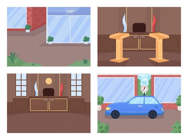 Set di illustrazioni a colori piatto area del tribunale e della criminalità procedura della corte suprema indagine legale cartone animato di strada e aula di tribunale urbano
