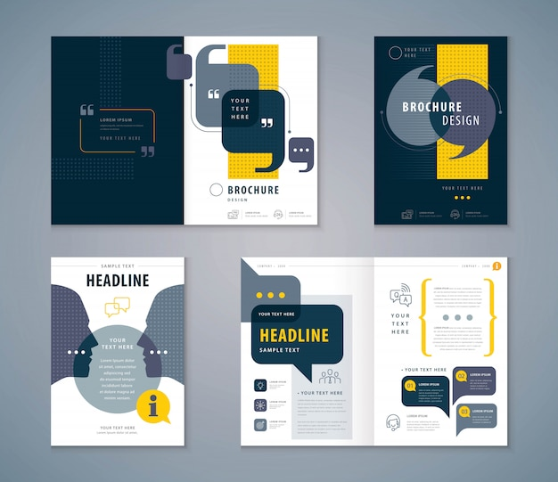 Insieme di progettazione del libro della copertura, opuscoli del modello di vettore del fondo delle bolle di discorso