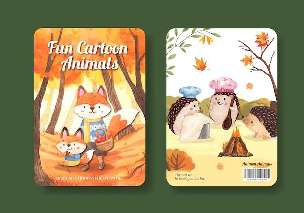 Modello di copertina del libro con animale autunnale in stile acquerello Vettore Premium