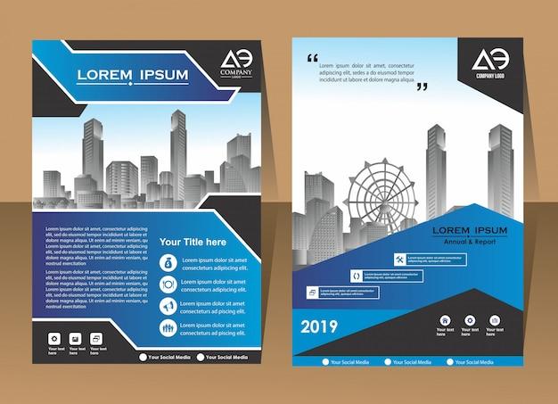 Copertina brochure flyer in a4 con forme geometriche colorate