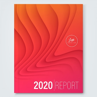 Modello di copertina per relazione annuale. forma d'onda curva astratta minima sul colore rosso di pendenza