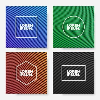 Modello di copertina imposta forma quadrata con linee astratte diverso gradiente di colore stile minimal