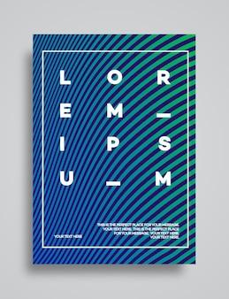 Cover design template set con linee astratte moderno stile sfumato di colore verde ciano