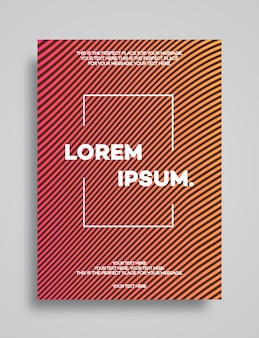 Modello di copertina con linee astratte moderno stile sfumato di colore arancione