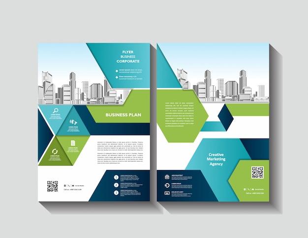 Progettazione di volantini di brochure di layout di copertina per eventi e report aziendali