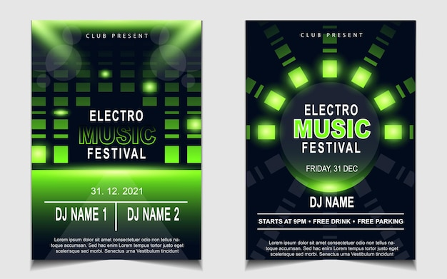 Coprire lo sfondo del design del volantino del poster musicale con effetto luce verde
