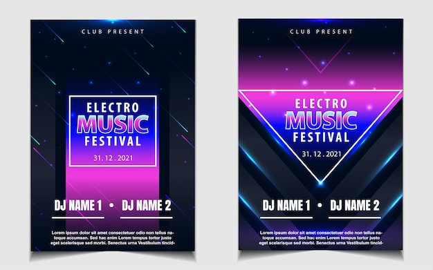 Modello di poster di copertina per festival di musica elettronica