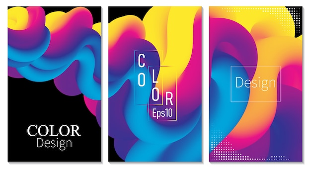 Set copertina. flusso del fluido. poster a colori. onda.