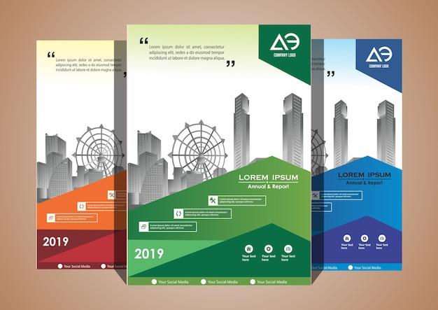 Copertina set layout brochure catalogo riviste con 3 colori