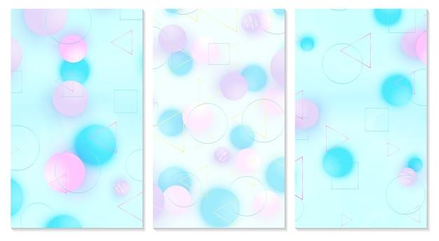 Set di copertura. sfere rosa, blu, viola.