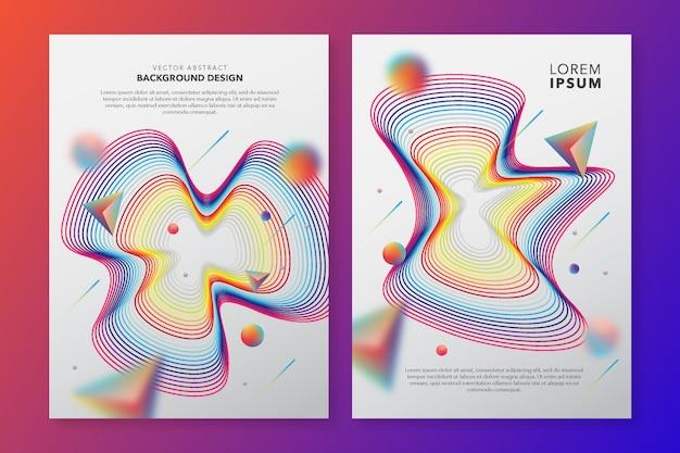 Modello di copertina con disegno astratto colorato Vettore Premium