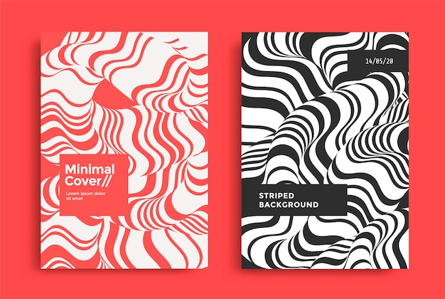 Modelli di copertina impostati con onda fluida ottica composizioni geometriche a due tonalità con forma 3d ondulata