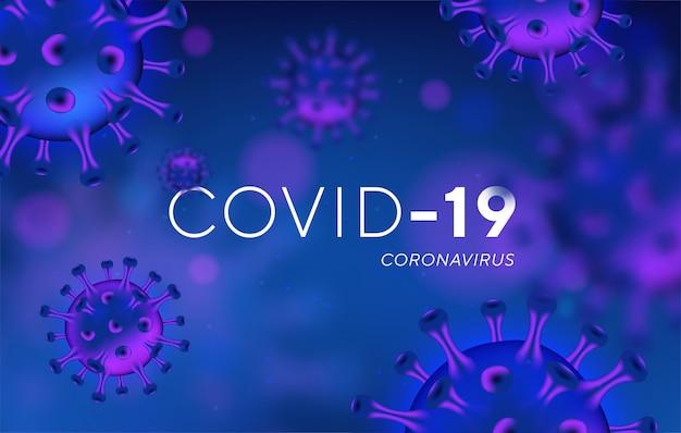 Coronavirus covid-19 sfondo con cellule virali realistiche.