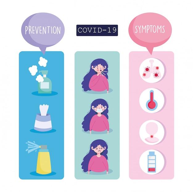 Covid 19 coronavirus infografica, sintomi e prevenzione trattamento icone illustrazione