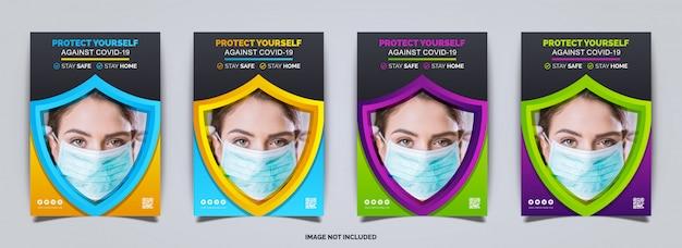 Protezione coronavirus covid-19, design brochure