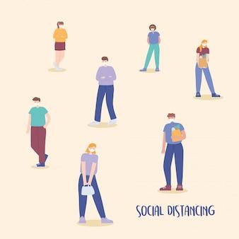 Covid 19 coronavirus prevenzione sociale a distanza, stare lontano l'uno dall'altro, diffusione dell'epidemia, persone con illustrazione di maschera medica