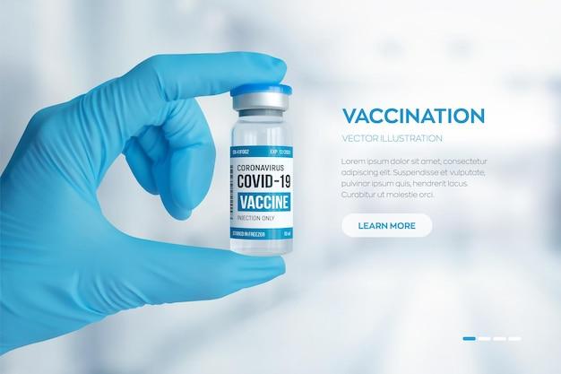 Banner di fiala di vaccino contro il coronavirus covid-19