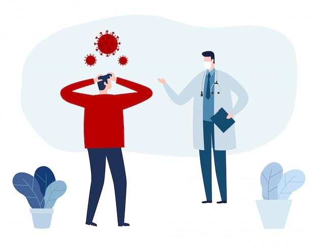 Covid-19, consultazione del medico e diagnosi del virus dell'epidemia wuhan coronavirus 2019-ncov illustrazione di concetti di rischio di salute medica pandemia piatta.