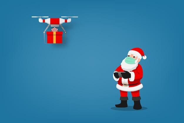 Infografica covid-19 di un simpatico personaggio natalizio, babbo natale indossa una maschera chirurgica che controlla il drone per inviare un regalo per i bambini e mantenere le distanze fisiche sociali. protezione dal coronavirus.