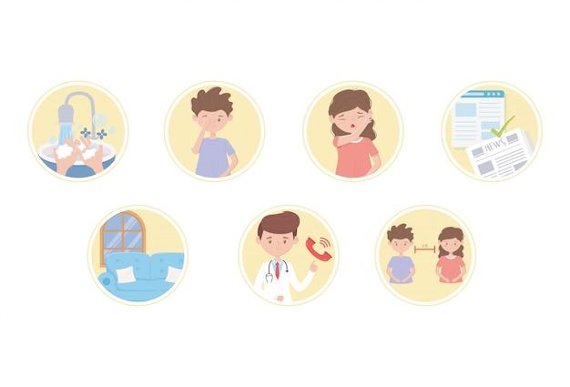 Covid 19 icone per la prevenzione della pandemia protezione icone diffusione malattia