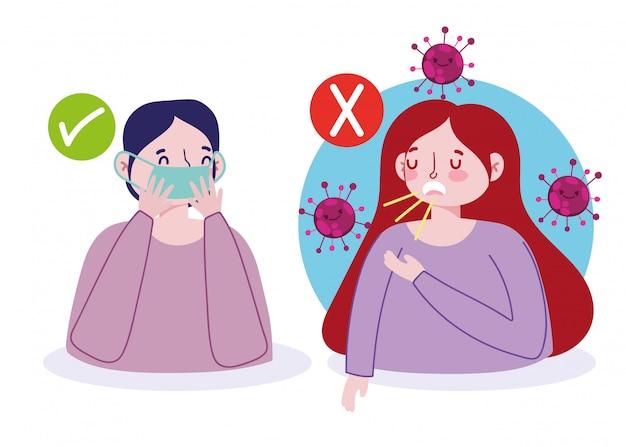 Covid 19 prevenzione ed evitare le opzioni coprire la bocca con la carta, non coprire la bocca con la mano