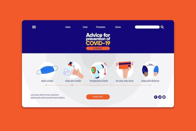 Modello web pagina di destinazione prevenzione covid-19
