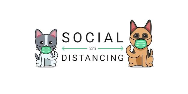 Covid-19 protezione concetto personaggio dei cartoni animati gatto e cane che indossa la maschera protettiva per il viso allontanamento sociale