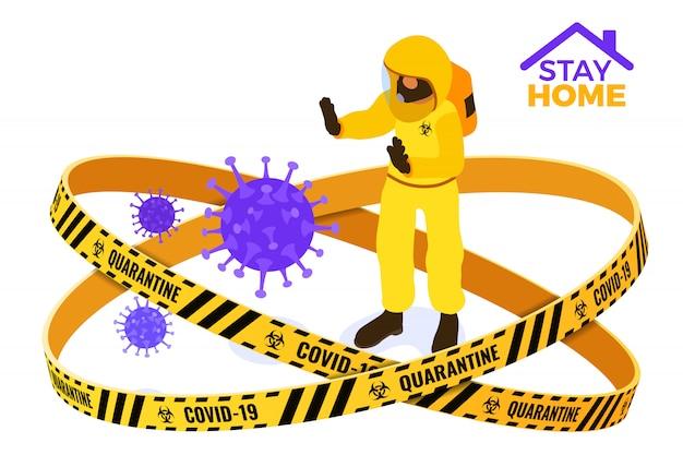 La quarantena covid-19 rimane a casa, il medico ferma il coronavirus