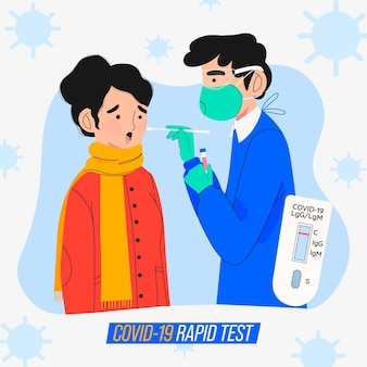 Concetto di test rapido covid-19
