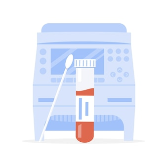 Covid-19 rt pcr macchina e provetta con campione di tampone o sonda con sangue. amplificatore. vettore