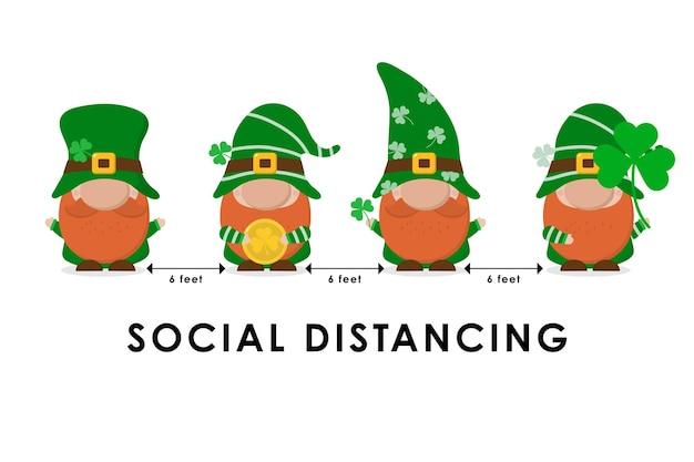 Covid-19 e infografica di distanziamento sociale con simpatici gnomi