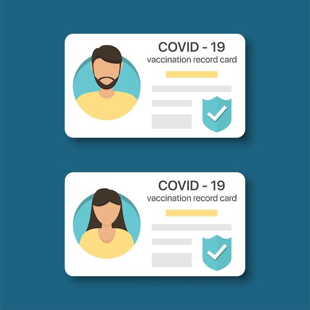 Tessera del libretto di vaccinazione covid-19 per uomini e donne. certificato di immunità covid-19 in un design piatto