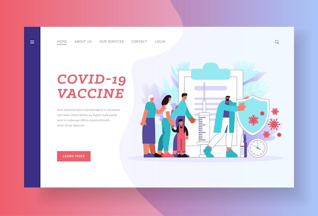 Modello di pagina di destinazione del vaccino covid-19