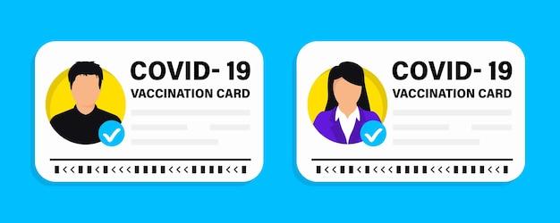 Passaporto del vaccino contro il covid-19. certificato di vaccinazione, tessera sanitaria o passaporto per viaggiare in tempo pandemico. illustrazione vettoriale della tessera di vaccinazione, maschio e femmina. certificato di immunità internazionale