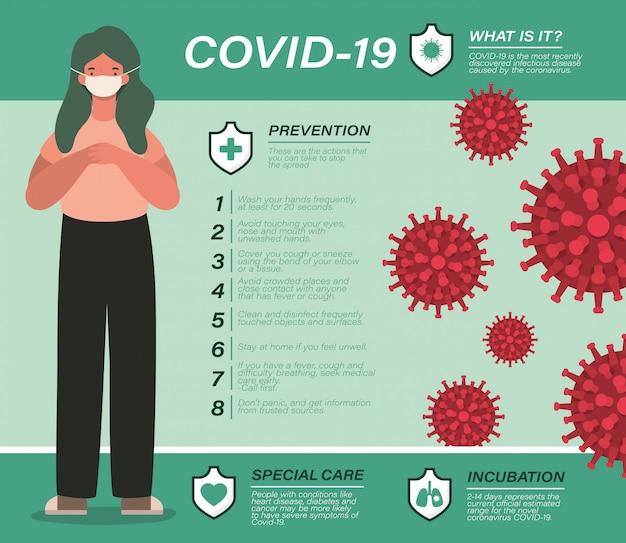 Covid 19 suggerimenti per la prevenzione dei virus e avatar della ragazza