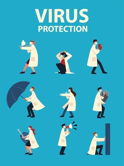 Protezione antivirus covid 19 e medici con maschere e scenografia del tema cov e coronavirus 2019 ncov