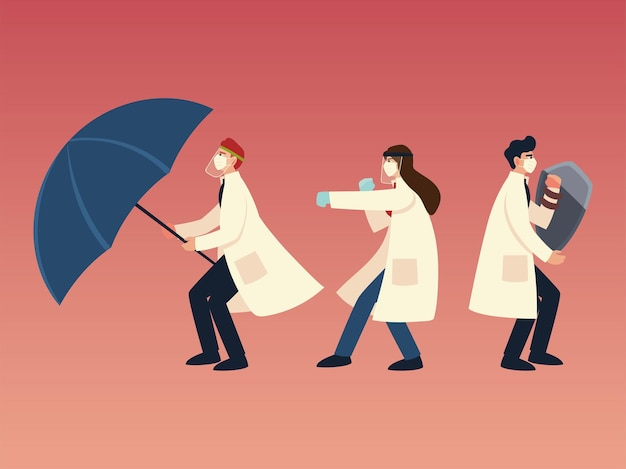 Protezione antivirus covid 19 e medici con mascherine, scudo e design a ombrello del tema ncov cov e coronavirus 2019