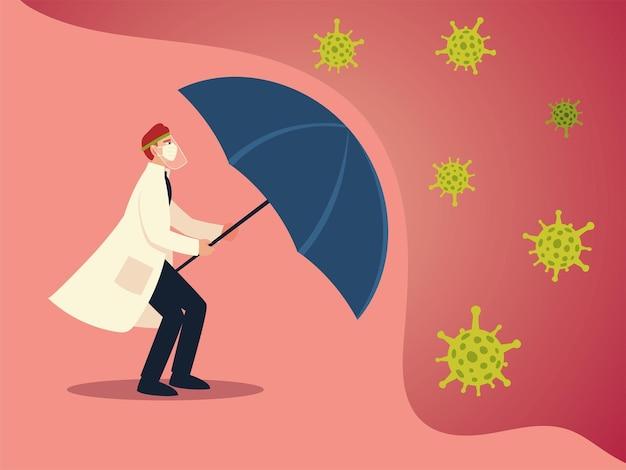 Protezione antivirus covid 19 e medico uomo con maschera e design ombrello del tema cov e coronavirus 2019 ncov