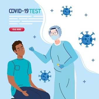 Covid 19 virus test medico e uomo nero su sedia design del tema cov e coronavirus ncov