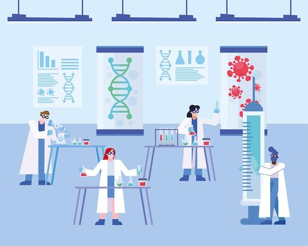 Ricerca sul vaccino del virus covid 19 con design di persone chimiche del 2019 ncov cov e tema coronavirus illustrazione vettoriale