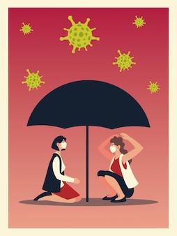 Virus covid 19 e donne con maschere e design a ombrello del tema ncov cov e coronavirus 2019