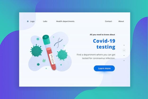 Modello di pagina di destinazione web test del sangue covid