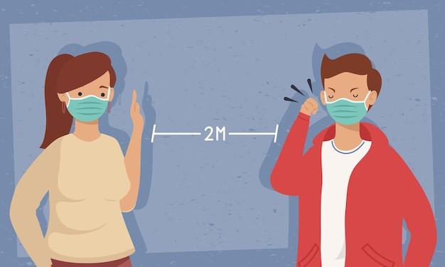 Prevenzione covid, coppia utilizzando la maschera per il viso nel disegno di illustrazione sociale distanziato