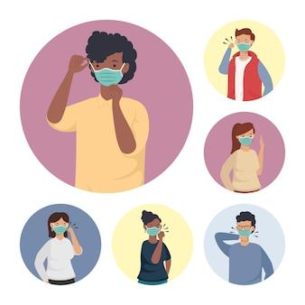 Prevenzione covid, persone che indossano il viso maschera medica illustrazione design