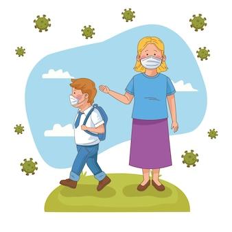 Preventivo covid sulla scena della scuola con studente ragazzo e insegnante nel campo