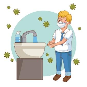 Preventivo covid sulla scena della scuola con ragazzo studente che si lava le mani